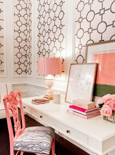 Black + White + Pink Office via Tobi Fairley Design