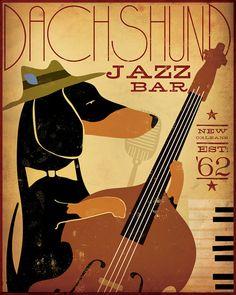 Dachshund Jazz Bar original graphic illustration by geministudio, $59.00