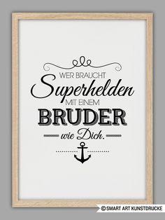 """""""BRUDERHERZ"""" Kunstdruck Geschenk von Smart-Art Kunstdrucke auf DaWanda.com"""