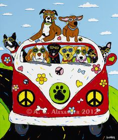 Peace Woof  Happiness VW Bus Full Of Cool by AngelaAlexanderArt, $25.00