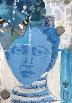 Kim Collister showcases the cyanotype technique using stencils fused with collage-making. Cool Stencils, Face Stencils, Stencil Art, Sun Prints, Free Prints, Collage Portrait, Collage Art, Art Journal Backgrounds, Rhapsody In Blue