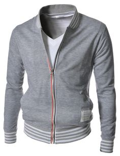 Brand new slim fit baseball blouson jackets for men. Accent stripes at neck line and bottom. Front zipper closure outerwear are made of sweats cotton, wearing for active sports, school, picnic and so on.