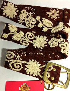 Embroidered Wool Belt Brown Cream Peruvian Tapestry Handmade Handcrafted Unique
