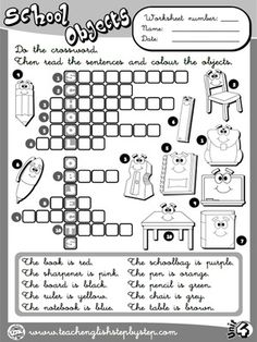 School Objects - Worksheet 8 (B&W version)