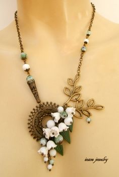 Lilies of the valley  White green jewelry  by insoujewelry on Etsy