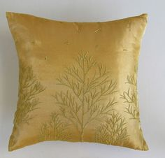 elegant gold tree organza pillow and cushion cover gold tree embroidery. Check out our great deals on facebook : https://www.facebook.com/comfyheavenpillows
