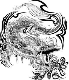 Дракон рисунок эскиз татуировки вектор — стоковая иллюстрация #52908399