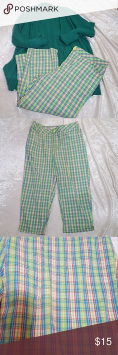 Billblass capris Size 10 Billblass capris.  Cotton and spandex blend allowing strech.  Bright colors great for spring and summer. Awesome bright plaid pattern in kiwi, Caribbean, and coral. Feel free to ask questions or request more photos.  Used condition not brand new.  Thanks for looking and happy poshing. Pants Capris