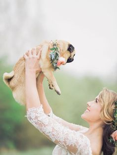 Pet Pug with Floral Collar | Ami Elisah Wedding Dress | Romantic Inspiration Shoot At Spains Hall Estate | Images By Charli Photography | www.rockmywedding...