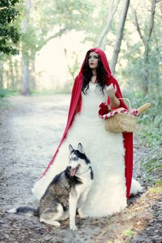 Little Red Riding Hood with the Wolf - Bride photo- How cute this would be with Keira. She looks like a wolf, it could work. Matching Halloween Costumes, Red Ridding Hood, Book 15 Anos, Red Riding Hood Costume, Fantasy Photography, Foto Art, Red Hood, Bridal Shoot, Bridal Gowns