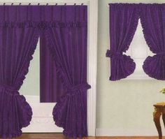 Charmant Purple Fabric Shower Curtain | Purple Fabric Double Swag Shower Curtain  With Matching Window Curtain .