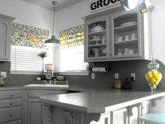 Gray And Yellow Faux Roman Shades Kitchen Curtains Grey Window