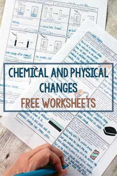 These free homework pages are terrific for helping students see physical and chemical changes in their everyday lives an Chemistry Classroom, High School Chemistry, Teaching Chemistry, Science Chemistry, Middle School Science, Physical Science, Science Education, Earth Science, Teaching Technology