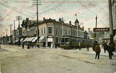 1907 ca Five Points, Waukesha   Postcard   Wisconsin Historical Society