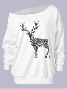 820817e71e81e Shop One Shoulder Elk Print Sweatshirt online. ROMWE offers One Shoulder Elk  Print Sweatshirt   more to fit your fashionable needs.