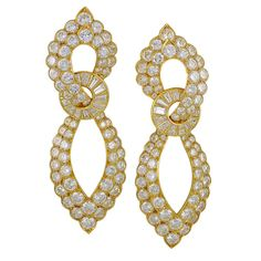 Van Cleef & Arpels Diamond Earrings | From a unique collection of vintage clip-on earrings at http://www.1stdibs.com/jewelry/earrings/clip-on-earrings/