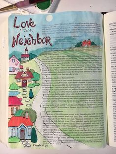 Love Your Neighbor - Mark 12:31 by Janis McCarthy, Graceful Palette. #ChurchSource #BibleJournaling
