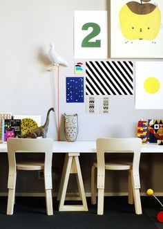 work space with the artek chairs! We have the lovely apple papple print at littlebabycompany.com