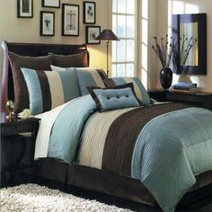 Hudson Teal Blue Olympic Queen size Luxury 8 piece comforter set includes Comforter, bed skirt, pillow shams, decorative pillows