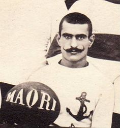 """""""Maori"""" ball - This postcard, dated 1908, shows """"Rugby Club Marine Sidi Abdallah"""" (i.e. Navy Rugby Club) - a French Navy camp in former Ferryville (now Menzel Bourguiba), near Tunis."""