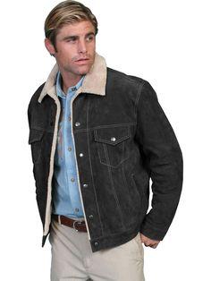 a00e3cf63a Scully Leather Mens Boar Suede Sherpa Fleece Jean Jacket Black