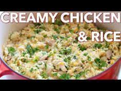 Creamy chicken and rice is so satisfying and a one-pot meal! This chicken and rice recipe has all the creaminess of risotto and heartiness of plov. Rice Recipes, Casserole Recipes, Meat Recipes, Cooking Recipes, Healthy Recipes, Rice Casserole, Delicious Recipes, Cooking Tips, Salad Recipes