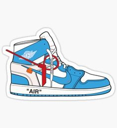 'Jordan x Off White UNC' Sticker by showmetype Stickers Cool, Red Bubble Stickers, Meme Stickers, Snapchat Stickers, Tumblr Stickers, Phone Stickers, Printable Stickers, Sneakers Wallpaper, Shoes Wallpaper