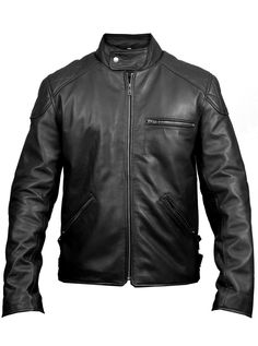 Harley is a Mens Black Biker Leather Jacket, all hand crafted using only high quality genuine Leather. • Stand up collar with snap tab stud fastening  • Front zipper inset • Single chest pocket with zipper • Two vertical welt body pockets with zipper  • Cuffs with zipper • Double adjustable tabs on sides of the waist for snug and loose fit • Body & Sleeve lining: polyester  • Shell: 100% Genuine Leather
