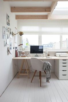 Studio desk // work space // home office in white and neutral colors #homedecor #workspace #homeoffice 30 Incredibly Organized Creative Workspace Ideas #creativeworkspace #workspaceideas