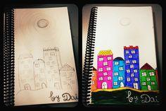 """Cosas que hago en papel para relajarme. Boceto 1 y 2 """"mi pueblo"""" 14/05/2012."""