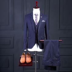 2017 Latest Coat Pant Designs Navy Blue Formal Men Suit Pattern Classic Skinny Prom Custom 3 Piece Jacket Terno Masculino CA4 #Affiliate