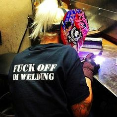 Whats even sexier besides the fact this is a female welding, shes tig welding!!!