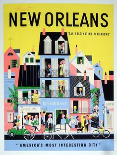 New Orleans, USA - 'Americas Most Interesting City' classic travel destination poster