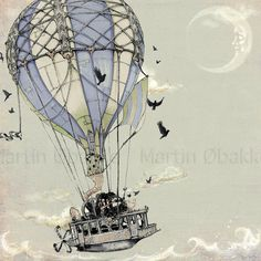 Steampunk Art Print Hot Air Balloon Steamship by thefiligree from theFiligree on Etsy. Saved to Steampunk Pilot Princess. Steampunk Kunst, Steampunk Airship, Dieselpunk, Air Ballon, Hot Air Balloon, Dirigible Steampunk, Illustrations, Illustration Art, Air Balloon Tattoo