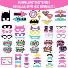 Amanda Keyt DIY Printable Photobooth Prop Sets and more! Batgirl Party, Batman Party, Birthday Party Themes, Girl Birthday, Birthday Ideas, Barbie Birthday, Supergirl, Barbie Super Princesa, Shimmer Y Shine