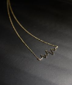 Heartbeat Necklace Gold Heart Necklace Love by MicaJewelsNYC, $58.00