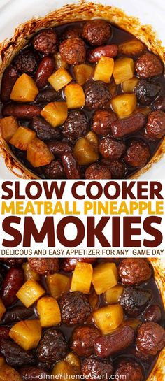 Slow cooker meatball pineapple smokies are a delicious and easy appetizer party appetizers holidays christmas thanksgiving nye gameday dinnerthendessert oven baked ham and cheese sliders Finger Food Appetizers, Yummy Appetizers, Appetizers For Party, Thanksgiving Appetizers, Slow Cooker Appetizers, Appetizer Meatballs Crockpot, Easy Food For Party, Snacks For Party, Meatball Appetizers
