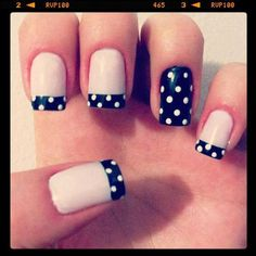 Aestique:  This is a hot nail trend we are loving!  Find a pattern for your base and then invert the pattern for one or two nails for a fun summer spin!