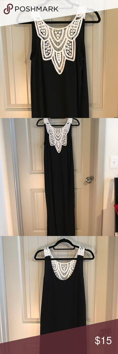 Croched maxi dress Black maxi dress with ivory crocheted back. Super cute! Great condition Merona Dresses Maxi