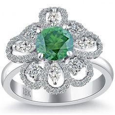 2.99 Carat Fancy Green Diamond Flower Shape Engagement Ring 18k White Gold - Cocktail Rings - Rings