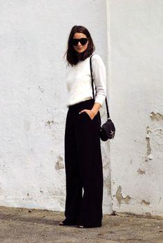 Sunglasses: le fashion image blogger black pants wide-leg pants fuzzy sweater white sweater black