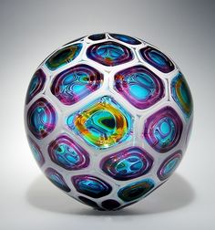 """Murrine Sphere"" ~Art Glass Sculpture ~ Created by David Patchen"
