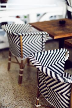 graphic woven chairs