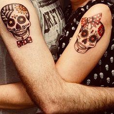 #sugarskulls #sugarskulltattoo #coupletattoo #matchingtattoos Skull Couple Tattoo, Skull Girl Tattoo, Sugar Skull Tattoos, Skull Tattoo Design, Married Couple Tattoos, Couple Tattoos Love, Unique Tattoos, Beautiful Tattoos, Small Tattoos