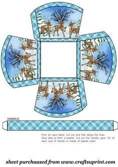 Christmas reindeers small gift basket on Craftsuprint designed by Sharon Poore - christmas reindeers small gift basket - Now available for download!