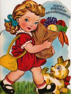 1950s Happy Birthday Granddaughter Card
