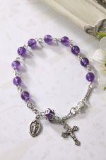 Amethyst Bead Rosary Bracelet -