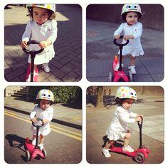 Always on the run, Suri and her #minimicro @Microscooters UK and @Kiddimoto #helmet #scooter #kids #children @Converse #ralphlauren