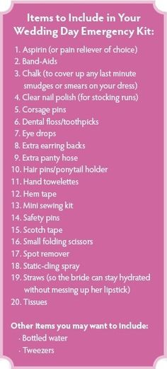 Wedding day survival kit : Things to bring