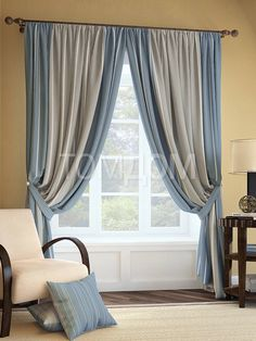 Living Room Decor Curtains, Home Curtains, Modern Curtains, Colorful Curtains, Living Room Colors, Interior Color Schemes, Beautiful Curtains, Blue Furniture, Curtain Designs